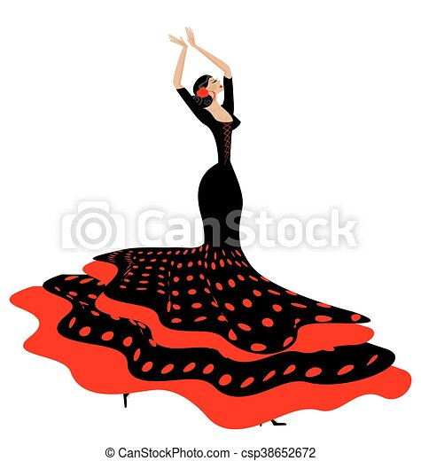 woman in red-black and flamenco - csp38652672