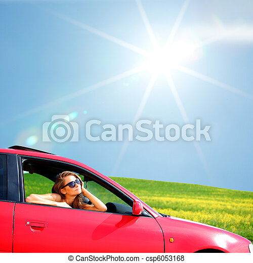 woman in red car - csp6053168
