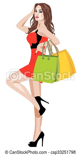 woman in red dress - csp33251798