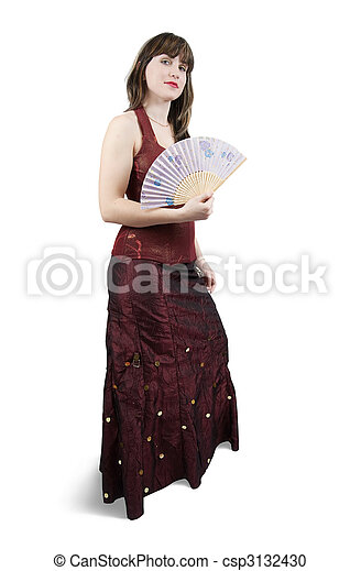woman in red dress with fan - csp3132430