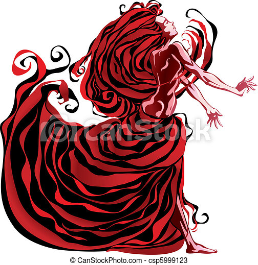 Woman in red. - csp5999123