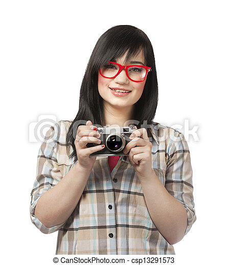 woman in red with camera at white background - csp13291573