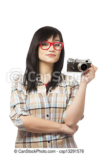 woman in red with camera at white background - csp13291576