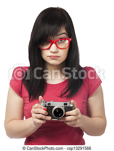 woman in red with camera at white background. - csp13291566
