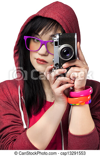 woman in red with camera at white background. - csp13291553