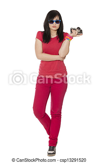 woman in red with camera at white background. - csp13291520