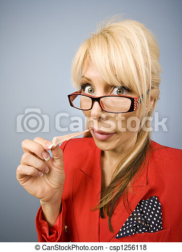 Woman in red with gum making a funny face - csp1256118