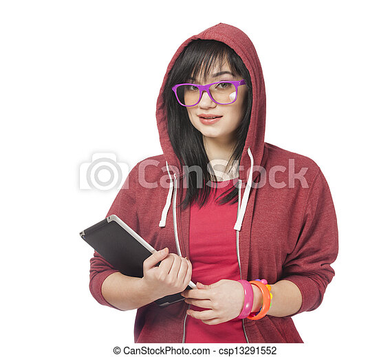 woman in red with tablet at white background. - csp13291552