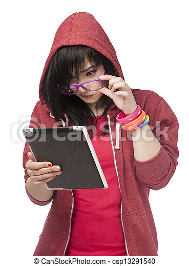 woman in red with tablet at white background. - csp13291540