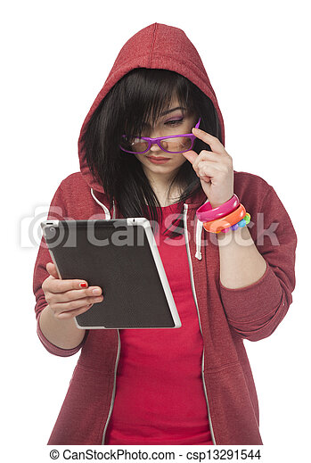 woman in red with tablet at white background. - csp13291544