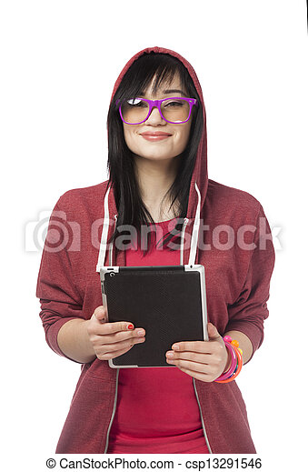 woman in red with tablet at white background. - csp13291546
