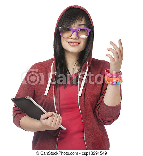 woman in red with tablet at white background. - csp13291549