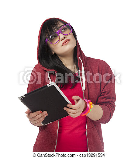 woman in red with tablet at white background. - csp13291534