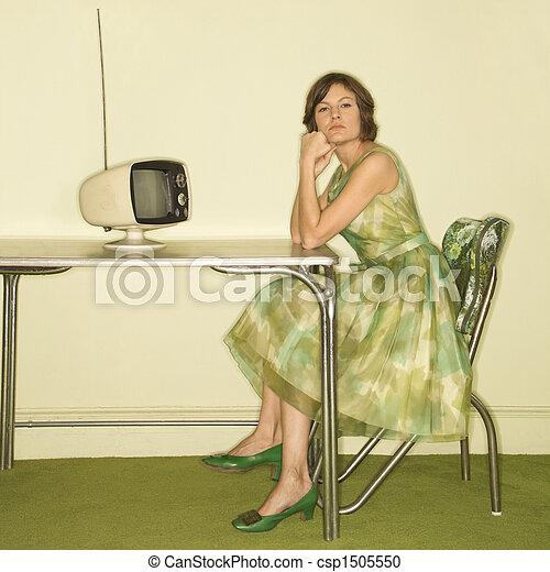 Woman in retro kitchen. - csp1505550