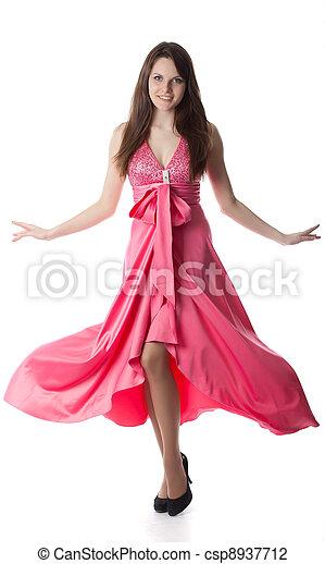 Woman in rose dress - csp8937712