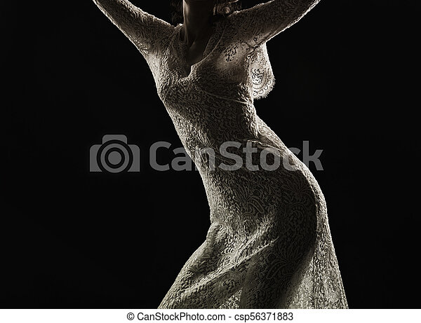 Woman in see-through dress. Silhouette of young woman in ...