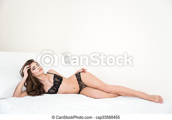 Awe Inspiring Woman In Sexy Black Lingerie Lying On The Bed Uwap Interior Chair Design Uwaporg