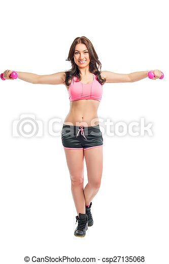 woman in sportswear with dumbbells on a white background - csp27135068