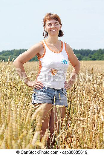 woman in the field - csp38685619