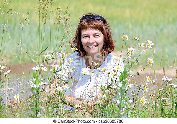 woman in the field - csp38685786