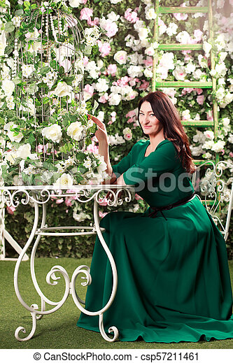 Woman in the garden - csp57211461