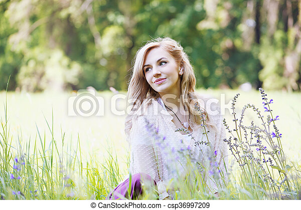 woman in the grass - csp36997209