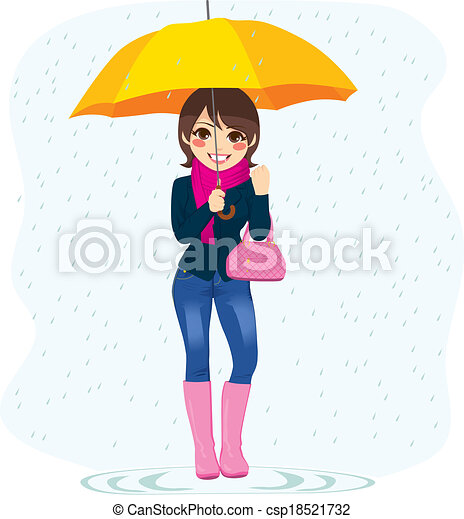 Woman In The Rain - csp18521732