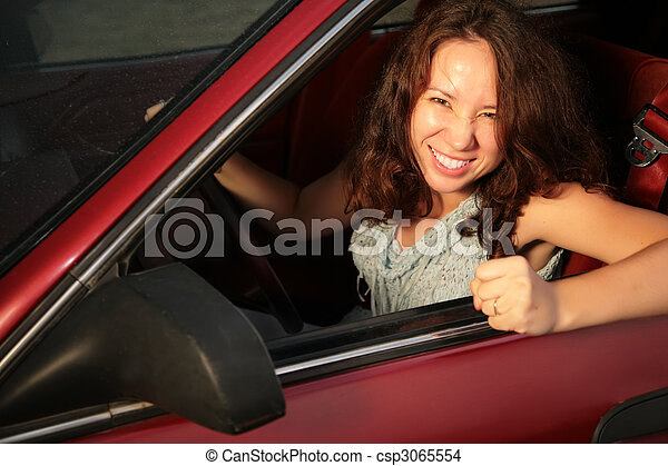 Woman in the red car - csp3065554