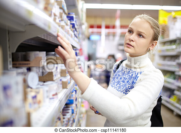Woman in the supermarket. - csp11141180