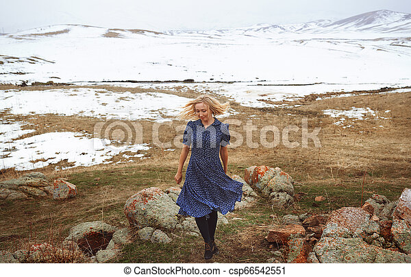 Woman in the winter landscape - csp66542551