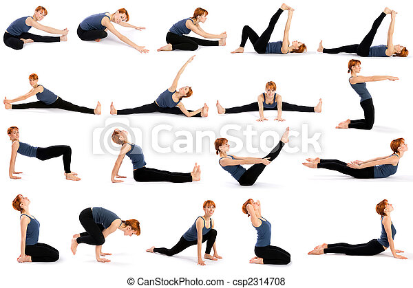 Woman In Various Sitting Yoga Poses Female Fitness Model In Various Sitting Yoga Poses Isolated On White Background