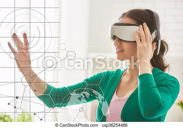 woman in virtual reality glasses. - csp36254486