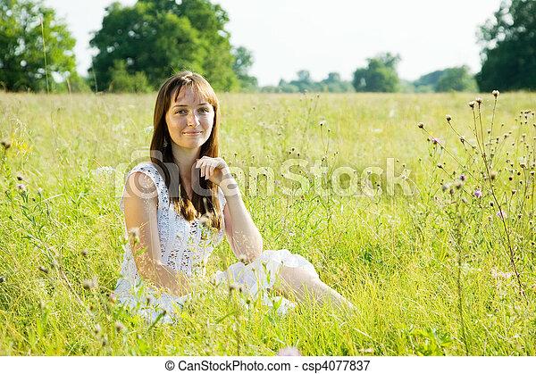 woman in white dress - csp4077837