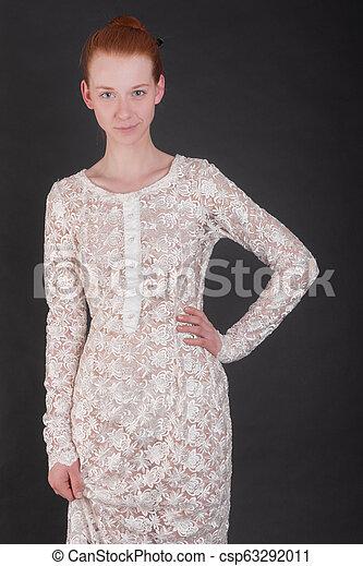 woman in white dress - csp63292011