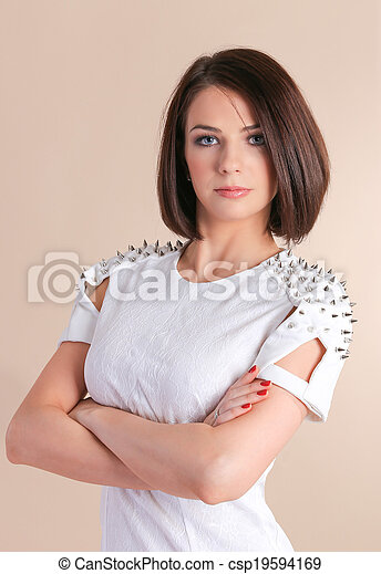 woman in white dress - csp19594169