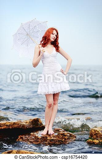 woman in white dress - csp16754420