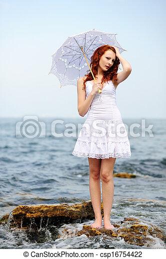 woman in white dress - csp16754422
