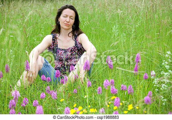 woman in wild flowers - csp1988883