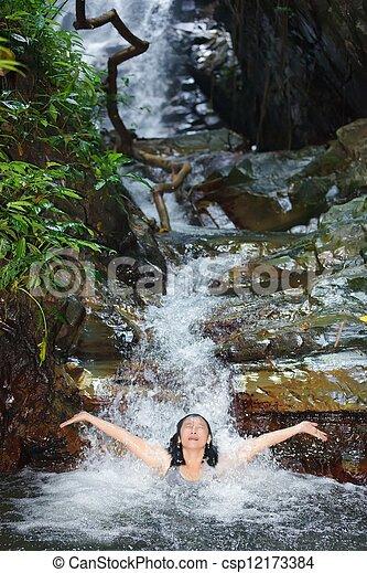 Woman in wild waterfall - csp12173384