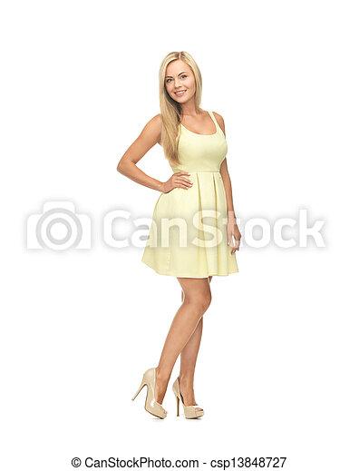 woman in yellow dress - csp13848727