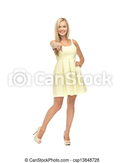 woman in yellow dress - csp13848728