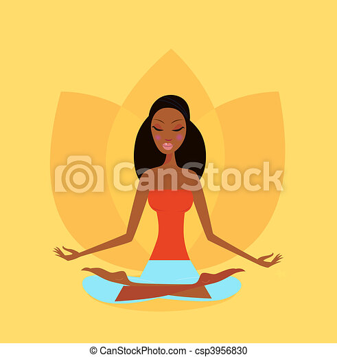 Woman in yoga Lotus flower position - csp3956830