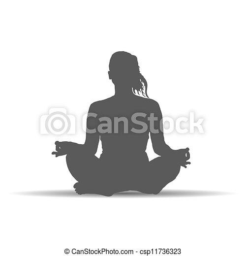woman in yoga poses silhouette art vector - csp11736323