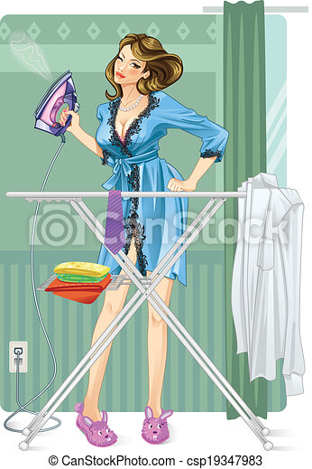 Woman ironing. Sexy modern housewife irons clothes.