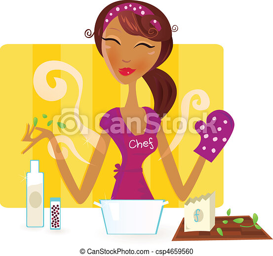 Woman is cooking meal in kitchen - csp4659560