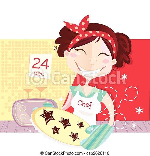 Woman is making christmas cookies - csp2626110