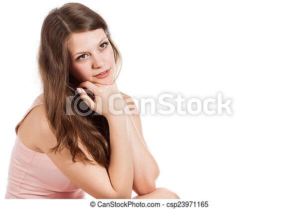 woman is posing in studio - csp23971165