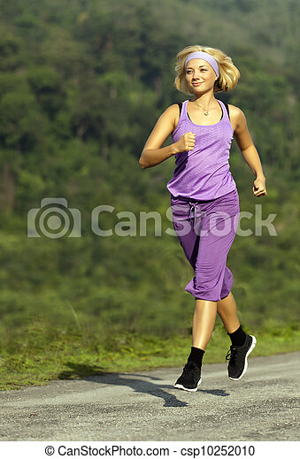 woman is running, summer day - csp10252010