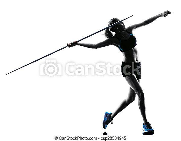 woman Javelin thrower silhouette - csp28504945