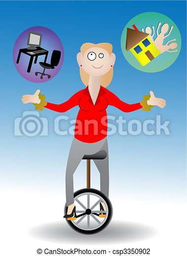 Woman juggling work and family - csp3350902